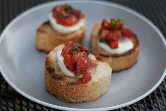 Tomato and Mozzarella Bruschetta from Food.com Photo by Busy Fork