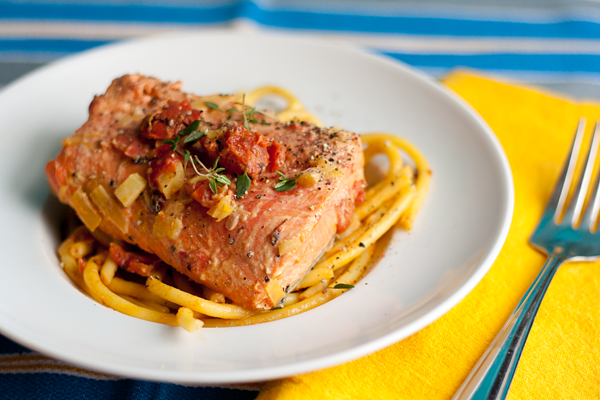 Bucatini in Tomato Saffron Cream with Wild Salmon from Tasty Trix