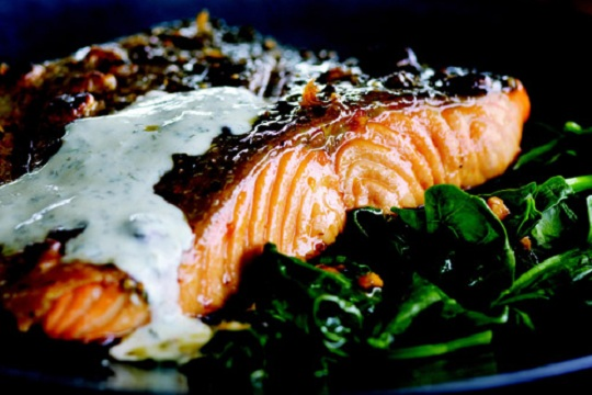 Crispy-Skin Salmon with Buttermilk-Mint Sauce from Martha Stewart Photo by Ben Fink