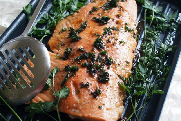 Whole Side of Salmon with Brown Butter Sauce from Fig & Cherry