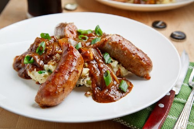 Bangers and Colcannon with Guinness Onion Gravy from Closet Cooking