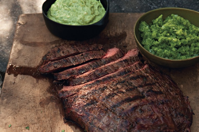 Beer-Marinated Flank Steak with Aji and Guacamole from Epicurious Photo by Hans Gissinger