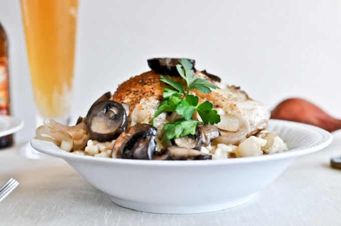 Beer Risotto with Mushrom Garlic Chicken from How Sweet It Is