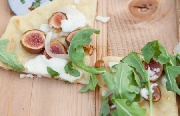 Fig, Caramelized Onion, and Goat Cheese Pizza from Camille Styles
