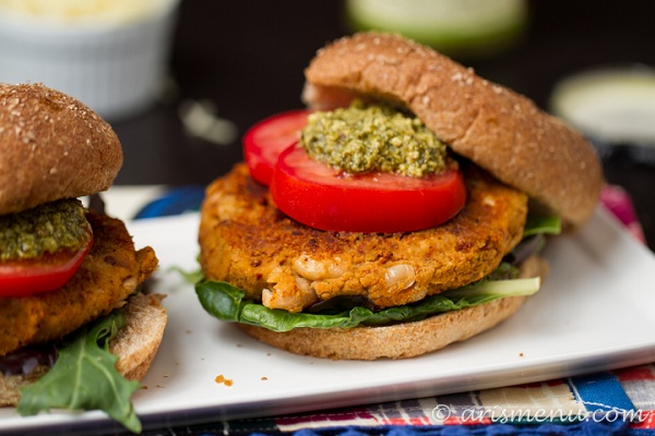 Sundried Tomato, Basil, and White Bean Burgers from Ari's Menu